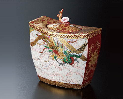 九谷焼 4号香炉 鳳凰図 高明