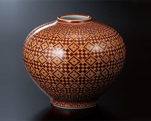 九谷焼 7号花瓶 黄地紅彩幾何文 宮本雅夫