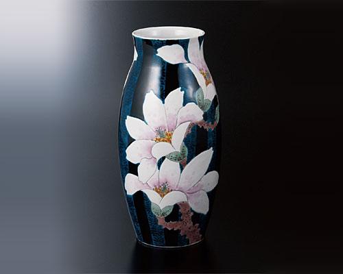 九谷焼 10号花瓶 青手こぶし 福田良則
