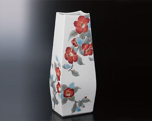 九谷焼 12号花器 椿 平野由佳