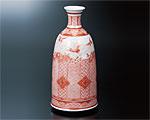 九谷焼 9号花瓶 赤絵細描吉祥富士に鶴 大酒清山