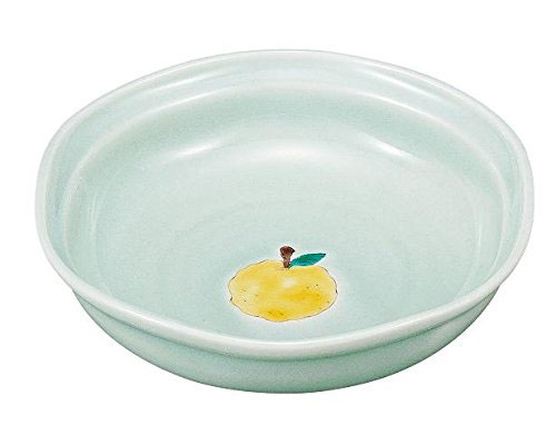 九谷焼 6.3号六角鉢 青磁ゆず 文吉窯