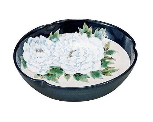九谷焼 7.3号鉢 牡丹 青良窯