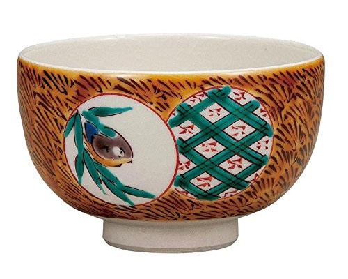 九谷焼 抹茶碗 割取鳥文