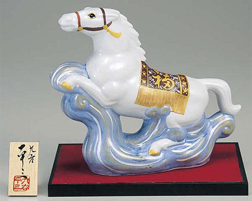 九谷焼 干支飾り 出世午(うま) 金銀彩