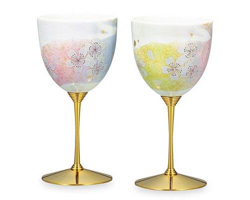 九谷焼 ワインカップ ペア 花の舞