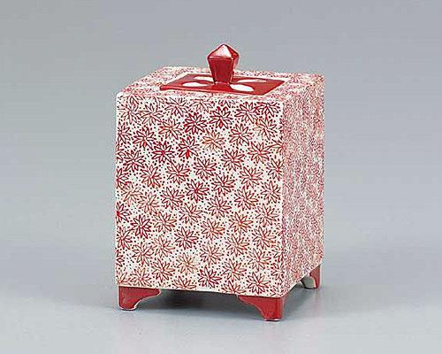 九谷焼 4号香炉 赤小紋