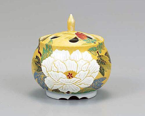 九谷焼 3.5号香炉 牡丹の図 古田弘毅