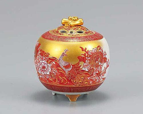 九谷焼 3.5号香炉 本金赤孔雀 佐伯信平