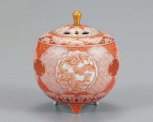 九谷焼 4号香炉 赤絵草花文 大酒清山