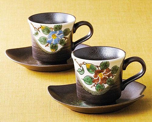 九谷焼 カップ&ソーサー ペア 山茶花
