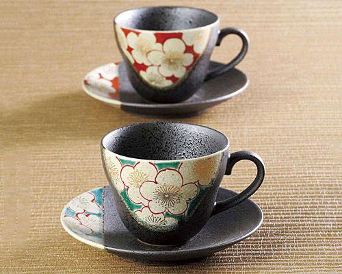 九谷焼 カップ&ソーサー ペア 梅の図