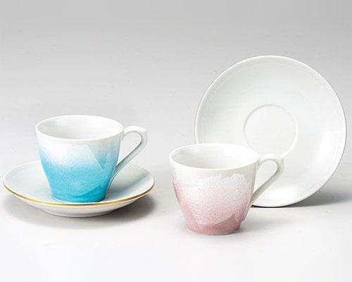 九谷焼 カップ&ソーサー ペア 銀彩