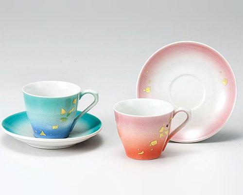 九谷焼 カップ&ソーサー ペア 釉彩金箔