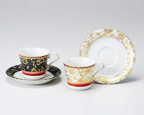 九谷焼 カップ&ソーサー ペア 鉄仙花