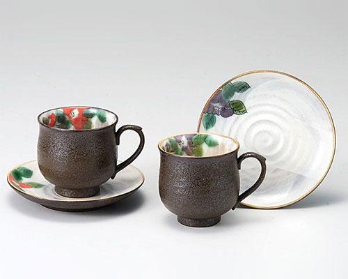 九谷焼 カップ&ソーサー ペア 椿 青良窯