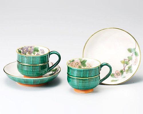 九谷焼 カップ&ソーサー ペア 海棠 青良窯