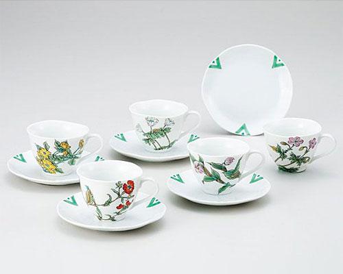 九谷焼 カップ&ソーサー 5客セット 山野草