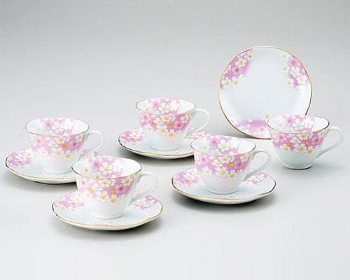 九谷焼 カップ&ソーサー 5客セット 金箔花の舞