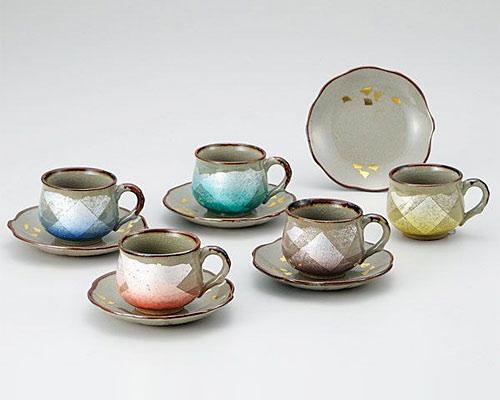 九谷焼 カップ&ソーサー 5客セット 銀彩