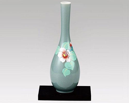 九谷焼 8.5号花瓶 フラワーベース パステル椿