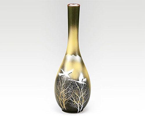九谷焼 8.5号花瓶 フラワーベース 木立に双鶴