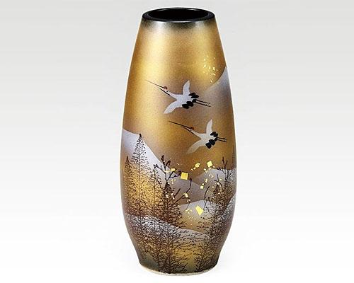 九谷焼 8.5号花瓶 フラワーベース 木立鶴