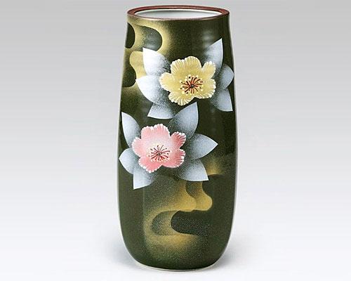 九谷焼 8号花瓶 フラワーベース 銀彩山茶花