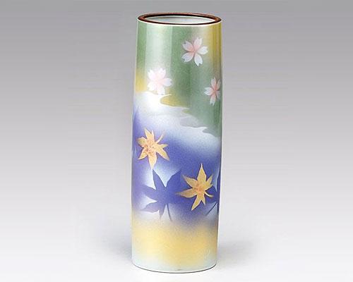 九谷焼 8号花瓶 フラワーベース 春秋
