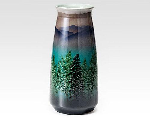 九谷焼 8号花瓶 フラワーベース 木立連山