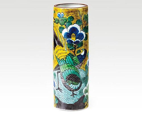 九谷焼 8号花瓶 フラワーベース 吉田屋山茶花金鶏