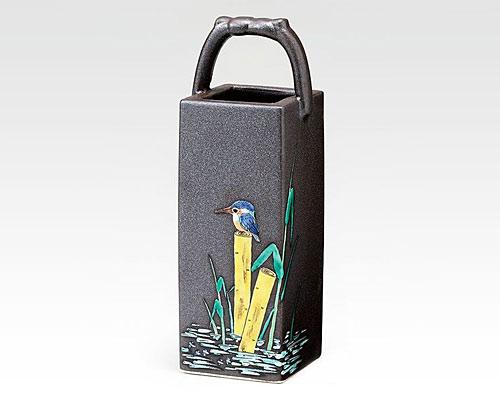 九谷焼 8号手桶花瓶 フラワーベース かわせみ