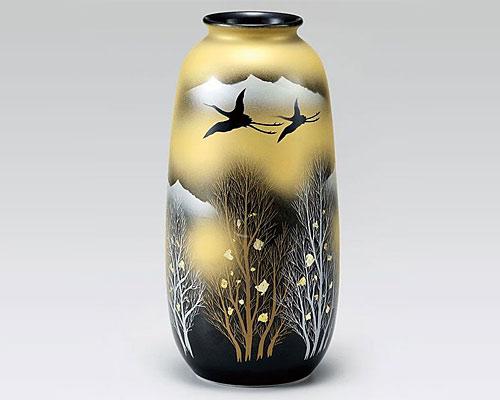 九谷焼 8号寸胴花瓶 フラワーベース 金雲木立
