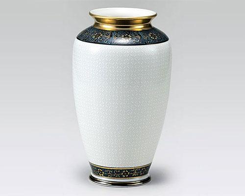 九谷焼 8号 花瓶 フラワーベース 白七宝