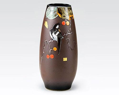 九谷焼 8号 花瓶 フラワーベース 山帰来 福田良則