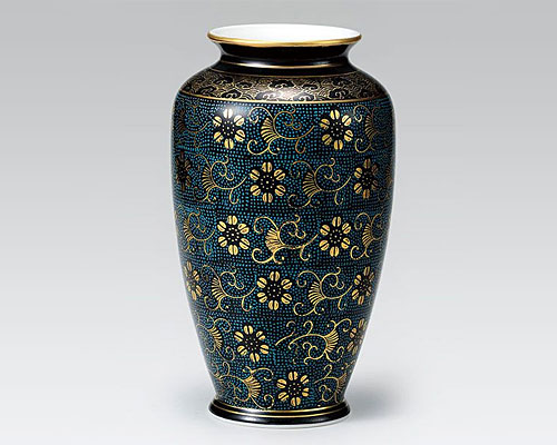 九谷焼 8号 花瓶 フラワーベース 青粒鉄仙
