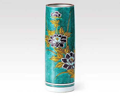 九谷焼 8号 花瓶 フラワーベース グリ-ン牡丹