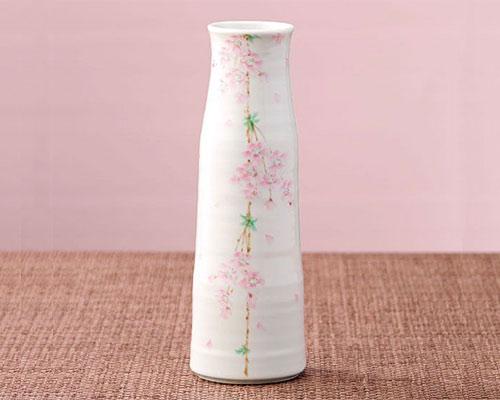 九谷焼 8号寸胴花瓶 フラワーベース 桜花 中村陶志人