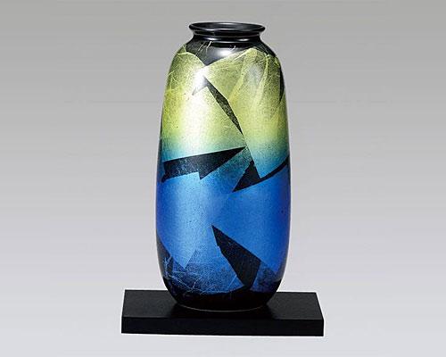 九谷焼 8号 花瓶 フラワーベース 銀彩夜明け
