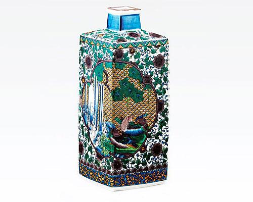 九谷焼 8号 花瓶 フラワーベース 古九谷花鳥