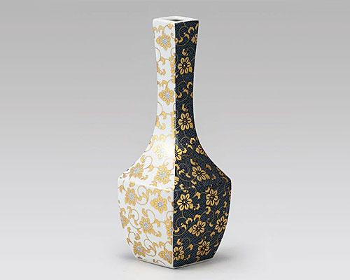 九谷焼 8号 花瓶 フラワーベース 青粒白粒鉄仙