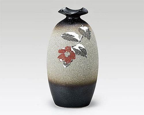 九谷焼 7号 花瓶 フラワーベース 雪椿 中村陶志人