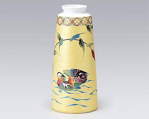 九谷焼 8号 花瓶 フラワーベース おしどり 古田弘毅