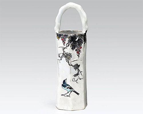 九谷焼 9.5号花瓶 フラワーベース ブドウに鳥 高畠敏彦