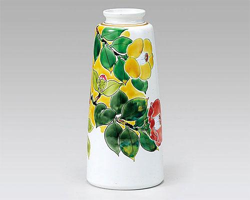 九谷焼 8号 花瓶 フラワーベース 椿 川田 稔