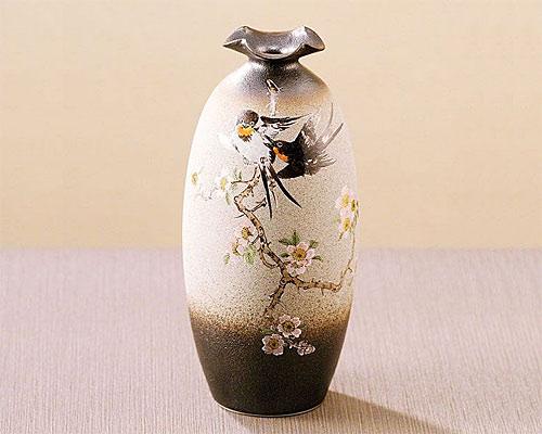 九谷焼 8号 花瓶 花鳥 澤田富雄