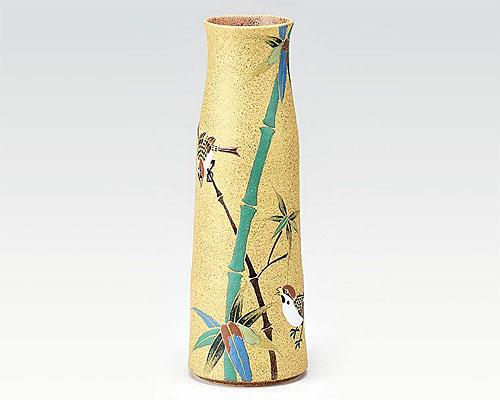 九谷焼 8号 花瓶 金彩竹に雀 古田弘毅
