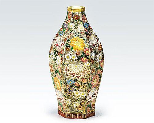 九谷焼 7号六角細型花瓶 フラワーベース 本金花詰 真山