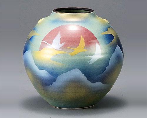 九谷焼 5.5号花瓶 フラワーベース 曙に鶴