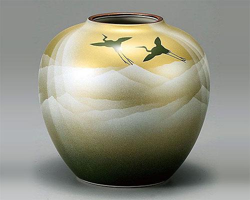 九谷焼 6号 花瓶 フラワーベース 銀彩山